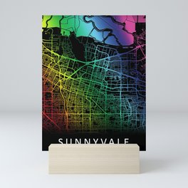 Sunnyvale, CA, USA, City, Map, Rainbow, Map, Art, Print Mini Art Print