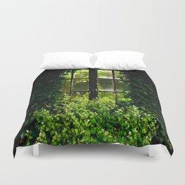 Green idyllic overgrown cottage garden window Duvet Cover