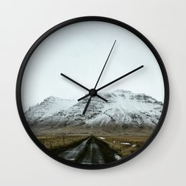 Empty Country Roads: Winter in Iceland Wall Clock