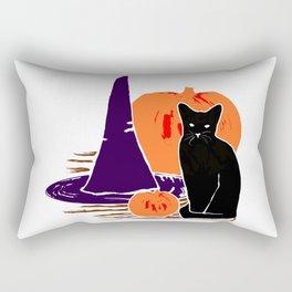 Witch Cat Pumpkin Woodcut Halloween Design Rectangular Pillow