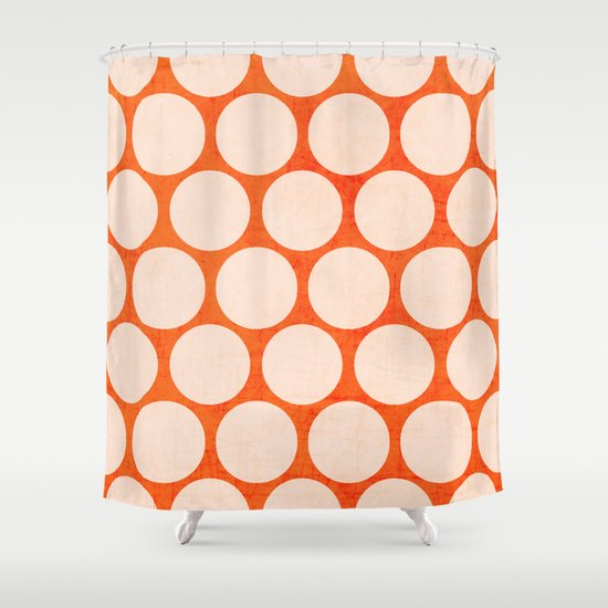Orange And White Polka Dots Shower Curtain By Her Art