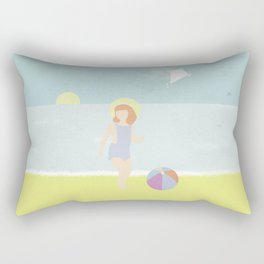 Girl at the beach with kite and ball in the 1950's vintage Rectangular Pillow
