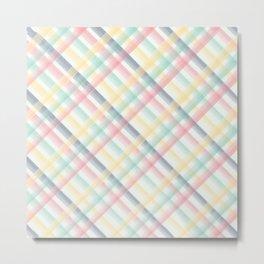Criss Cross Watercolor Pastel Pink, Green, Blue, Yellowrush, Criss Cross Lattice, Pastel Colors Metal Print