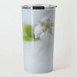 On the table lay the flower of a wild pear ... Travel Mug