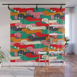 dachshund pattern- happy dogs Wall Mural