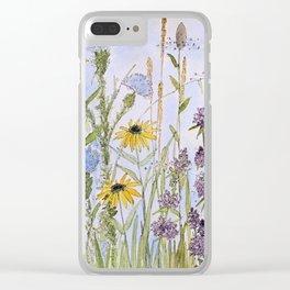 Wildflower Garden Watercolor Flower Illustration Clear iPhone Case