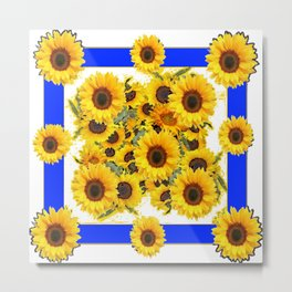 CLASSIC WHITE & BLUE SUNFLOWERS ART Metal Print