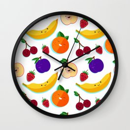 happy fruits and berries Wall Clock