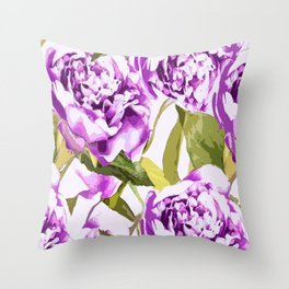 Peonies on a white background - #Society6 #buyart Throw Pillow