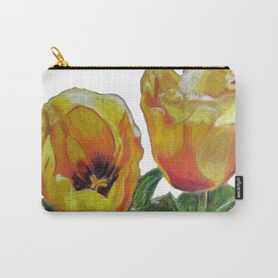 Bright Yellow Tulips Flower Drawing Carry-All Pouch