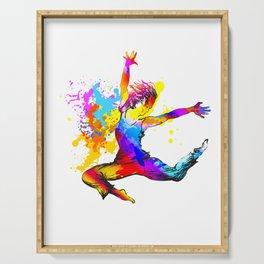 Hip hop dancer jumping Serving Tray