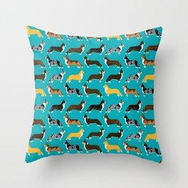 Corgi welsh corgi pattern print cute dog art pattern design pet portrait corgi puppy lovers fur baby Throw Pillow