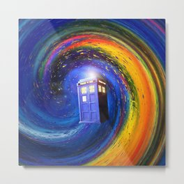 Tardis Doctor Who Fly into Time Vortex Metal Print