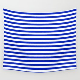 Cobalt Blue and White Thin Horizontal Deck Chair Stripe Wall Tapestry