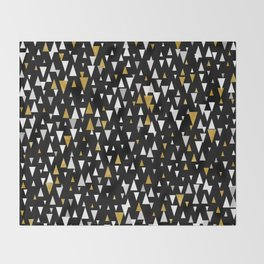 Triangle Modern Art - Black Gold Throw Blanket