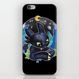 Baby Toothless Night Fury Dragon Watercolor black bg iPhone Skin
