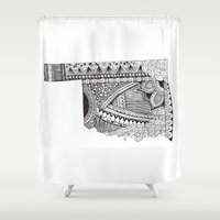 oklahoma Shower Curtains featuring Oklahoma by Line Upon Line Designs