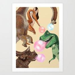 Playful Dinosaur Bubble Gum Gang Art Print