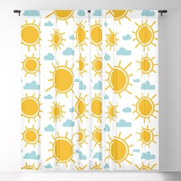 Hand Drawn Summer Sun Pattern Blackout Curtain