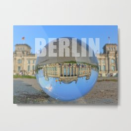 BERLIN Reichstag / Glass Ball Photography Metal Print