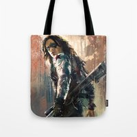 bucky barnes Tote Bags featuring Bucky by Wisesnail