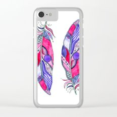 Bohemian Spirit Feathers - Magenta & Violet Clear iPhone Case