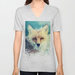 fox / splatter Unisex V-Neck