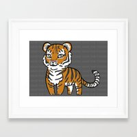 tigers Framed Art Prints featuring TIGERs by hoshi-kou