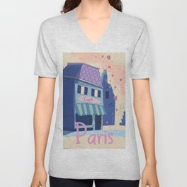 The little Parisian Cafe. Unisex V-Neck