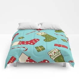 Christmas socks present sweet seamless background Comforters