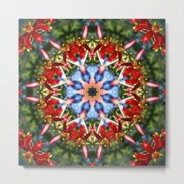 Red lily, blue sky and evergreen mandala I Metal Print