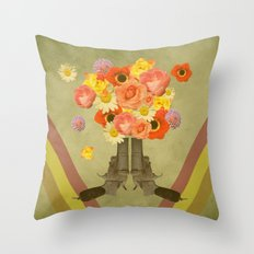 In my world, flowers come out of guns Throw Pillow