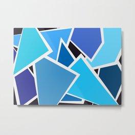 Retro Blue Mid-Century Vintage Minimalist Geometric Line Abstract Art Metal Print