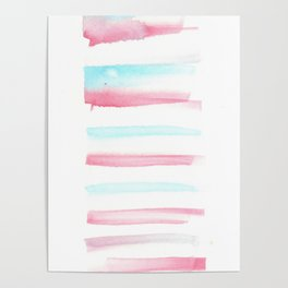 [170105] 2 Color Study Blue Pink  |Watercolor Brush Stroke Poster