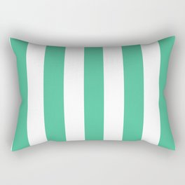 Ocean green - solid color - white vertical lines pattern Rectangular Pillow