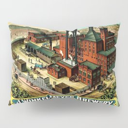 Vintage 1882 Julius Winkelmeyer Brewery St. Louis Lithograph Wall Art Advertisement Art Print Pillow Sham