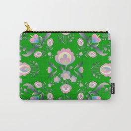 Folk Flowers in Green and Pink Carry-All Pouch