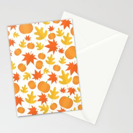 Colorful leaves and pumpkins Stationery Cards