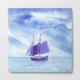 Sailing in Winter Metal Print