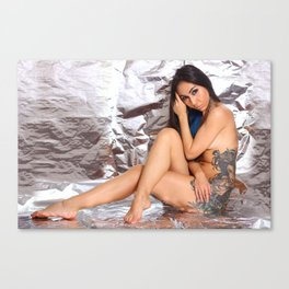 Nude woman with tattoo. Tattoo on woman body Canvas Print