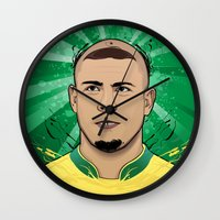ronaldo Wall Clocks featuring Football Legends: Ronaldo R9 Brasil  by Akyanyme