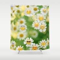 emoji Shower Curtains featuring Emoji Garden by jajoão