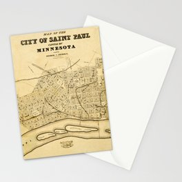 Map Of Saint Paul 1852 Stationery Cards