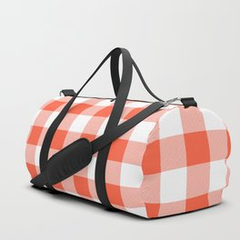 Jumbo Living Coral Color of the Year Orange and White Buffalo Check Plaid Duffle Bag