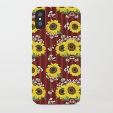 The Striped Red Fresh Sunflower Seamless Pattern iPhone X Slim Case