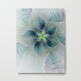 A Floral Fantasy, Abstract Fractal Art Metal Print