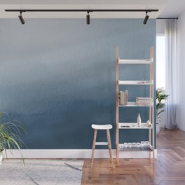 White & Blue Abstract Watercolor Blend Pairs To 2020 Color of the Year Chinese Porcelain PPG1160-6 Wall Mural
