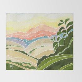 East Bay Devil Mountain in Summer Throw Blanket