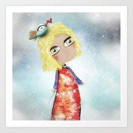Kids Illustration Sky Stars Doll - Australia Home Decor - Clothing - Ruth Fitta-Schulz Art 2018 Art Print