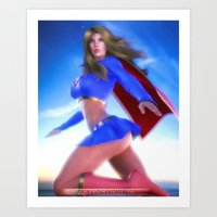 supergirl Art Prints featuring Supergirl by patriciogandara